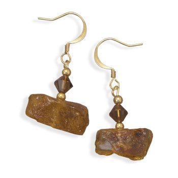 Baltic Amber and Topaz Color Crystal Fashion Earrings Gold Plated