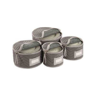 Richards Homewares Micro Fiber Deluxe Plate Case, Set of 4-Grey (Richards China Storage compare prices)