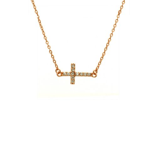 apop nyc Rose Gold Vermeil Mini Horizontal Cross Necklace 16 inch with Cubic Zirconia