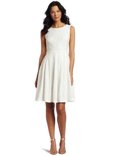Jones New York Women's Lace Asymetrical Pleat Dress