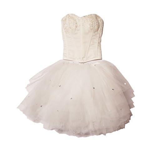 Future Eyes バレリーナ チュチュ ドレス キラキラ ラインストーン ダンス ステージ 衣装 上下セット (M, 白)
