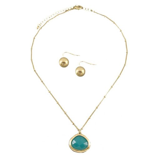 Matte Gold Necklace Necklace with Turquoise Stone and Gold Plated Bead Earrings For Women- 16 Length