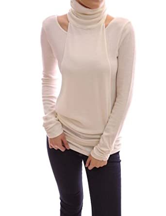 Patty Women Long Sleeves Ruched Turtleneck Tunic Blouse Top (Ivory 8/10)