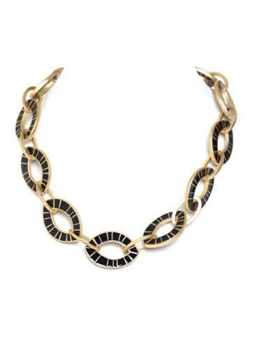 Belle Noel By Kim Kardashian Oval Link Necklace i - Gold/Black