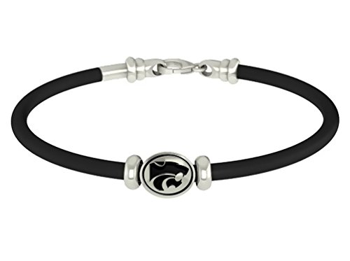 Kansas State Jayhawks Sterling Silver Oval Bead on Rubber Bracelet