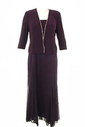 Alex Evenings Dress and Jacket, Rhinestone Trim Evening Dress Purple 22
