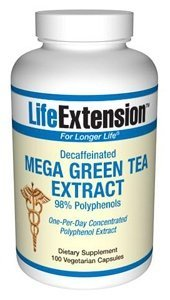 Life Extension Decaffeinated Mega Green Tea Extract 98 Polyphenolds Vegetarian Capsules 100-count by Life Extension