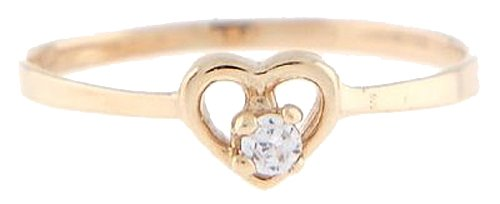 10 Karat Gold April Clear Cubic Zirconia Child Birthstone Ring Size (3)