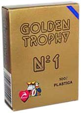 Modiano Italian Poker Game Playing Cards - Blue Golden Trophy 2 Index - Single Card Deck - 100% Plastic Made in Italy