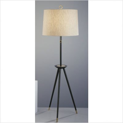 Robert Abbey 671 Jonathan Adler Ventana - Tripod Floor Lamp, Ebony Wood with Antique Natural Brass Accent Finish with Natural Linen Fabric Shade