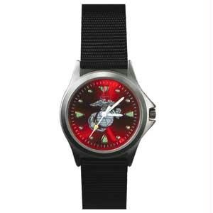 RAM Instrument Field Watch, Black Nylon Strap, US Marine Logo, Red Face