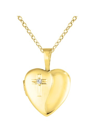 Gold over silver 0.01ct White Diamonds SS & Yg Heart Shaped Cross Locket w/ Dia Necklace (G-H, SI1-SI2)