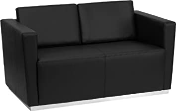 Flash Furniture ZB-TRINITY-8094-LS-BK-GG Hercules Trinity Series Contemporary Leather Love Seat with Stainless Steel Base, Black