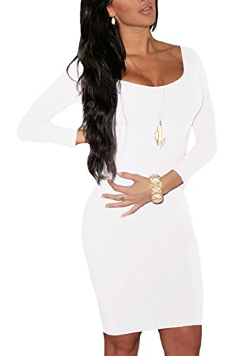 LaSuiveur Womens Long Sleeves Crewneck Bodycon Bandage Midi Evening Dresses