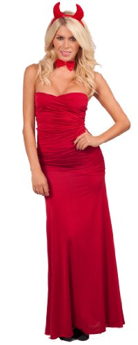 Long Sexy Strapless Red Devil Seductress Maxi Dress w/ Accessories Halloween Costume