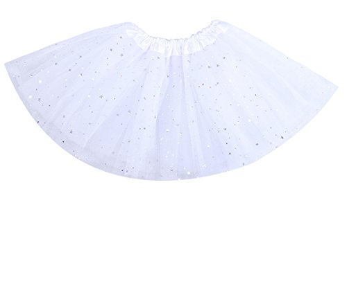 "Anleolife 12"" Kids Girls Summer Skirt Party Skirts Bow Candy Tutu Star Sequins White"