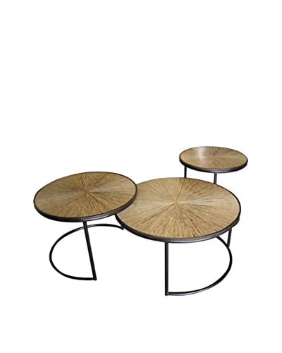 Jeffan Set of 3 Nesting Habitat Loma Cocktail Tables, Natural