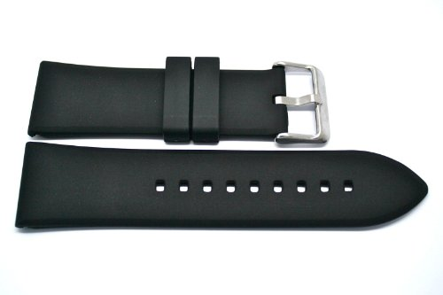 Black 28Mm Soft Rubber Silicone Composite Sport Diver Watch Band Strap Fits Invicta