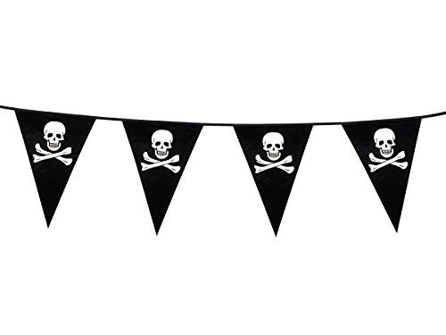 Guirlande Pirate tête de mort Noir et blanc (74160) en PVC Longueur 6 mètres, avec fanions 20 x 30 cm Accessoire déco incontournable pour un anniversaire pirate Idéale pour soirées à thème sur la piraterie, chasse aux trésors