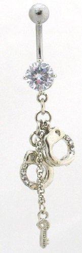 Pierced & Modified - Body Jewellery Belly Bars - Handcuffs & Key Dangle Navel Bar