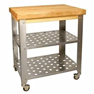 Kitchen Butchers Trolley : Stainless Steel Butchers Block Kitchen Trolley: Amazon.co.uk: Kitchen & Home