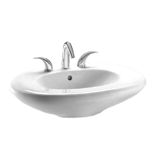 Toto Lt660G-01 Ethos Design L Pedestal Single Hole Basin With Sanagloss, Cotton front-483346