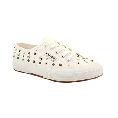 Superga 2750 Cotw Studs Womens Laced Canvas Trainers White - 8