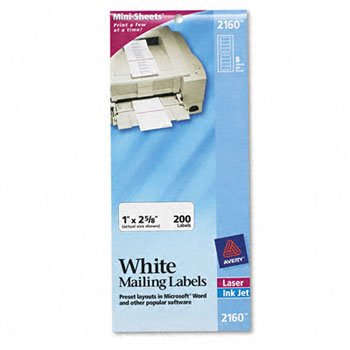 Avery® Mini-Sheets® Mailing Labels LABEL,LSR1X2-5/8WHT,2C/PK (Pack of15)