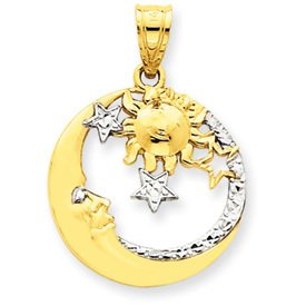 14k Yellow & Rhodium Gold D/C Moon, Stars, and Sun Pendant