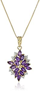 18k Yellow Gold Plated Sterling Silver Genuine African Amethyst and Diamond Accent Drop Pendant Necklace, 18