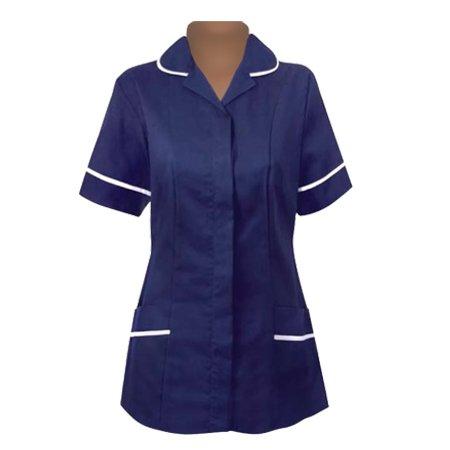 NewModel Womens Nurses Healthcare Tunic Round Collar Uniform Maid Housekeeper Beautician Navy