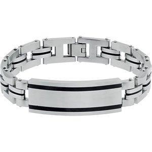 Stainless Steel ID Bracelet with Black Enamel