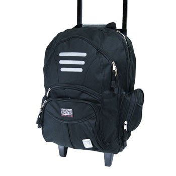 "18 inch 18"" Black Backpack Rucksack Trolley on Wheels Wheeled - Suitable for Holidays, Travel, Cabin Luggage, Flight Bag"