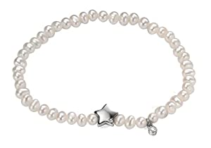 Elements Sterling Silver Women's B4298W White Pearl Stretch Bracelet with Clear CZ Star Charm of 18cm