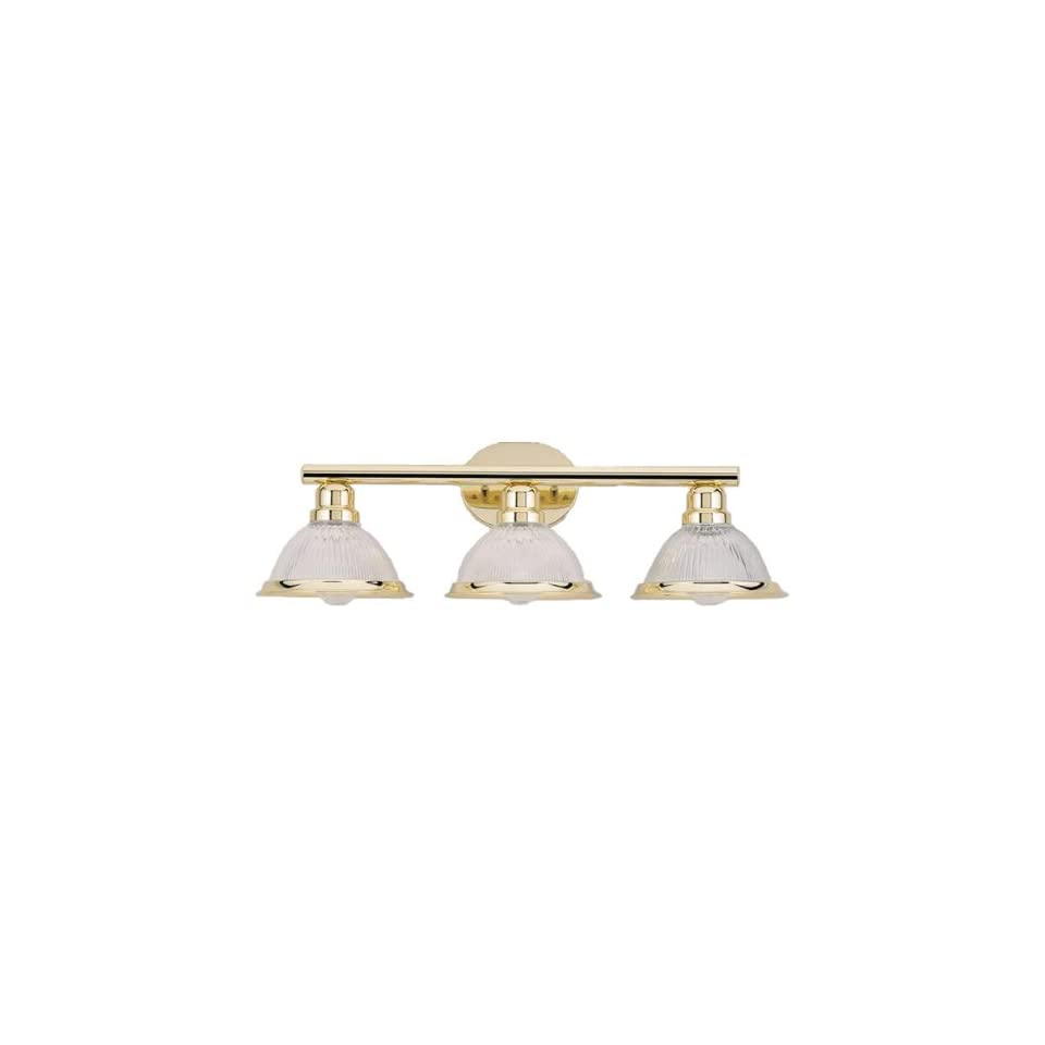Westinghouse 67475 Polished Brass 3 Light 25.5 Wide Bathroom Fixture with Clear Ribbed Glass