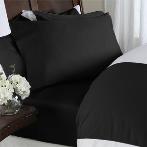 7 pc Black plain - solid Queen Size Bed Sheet-Duvet Cover Sheet with TWO Shams and TWO pillow cases set. 1500 Thread Count 100% Long Staple Egyptian Giza Cotton with Swiss Sateen Finishing