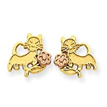 14k Two-tone Gold Solid Flat Back Polished Cat w Flower Post Earrings
