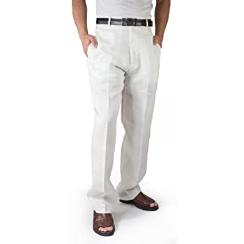Flat front 100% Linen Pants in Ivory