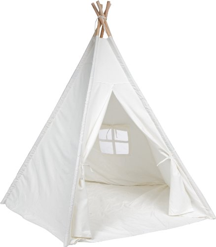 6' Large Canvas Teepee With Carry Case - Customizable Canvas Fabric - By Trademark Innovations (White)