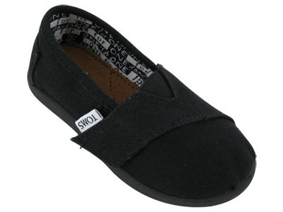 TOMS Infants's TOMS TINY CLASSICS BLACK CANVAS CASUAL SHOES 10 (BLACK)