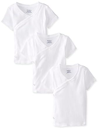 Gerber Unisex-Baby Newborn 3 Pack Short Sleeve Side Snap Shirt, White, Newborn