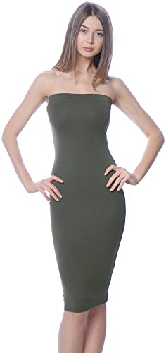 DNA Couture Womens Basic Strapless Bodycon Mini Tube Dress Small Olive