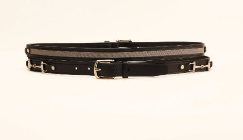 Tory Leather Blackk Belt with Gray Ribbon and Snaffle Bits - Black, 34