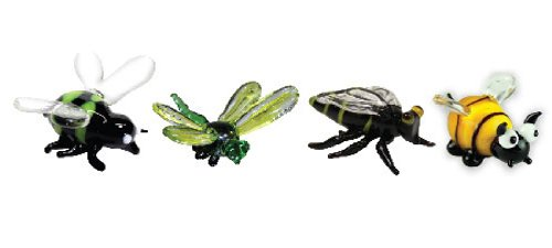 Looking Glass Miniature Collectible - Bee / Dragonfly / Wasp (4-Pack)