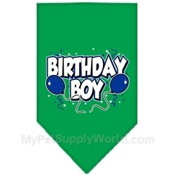 Dog Supplies Birthday Boy Screen Print Bandana Emerald Green Large