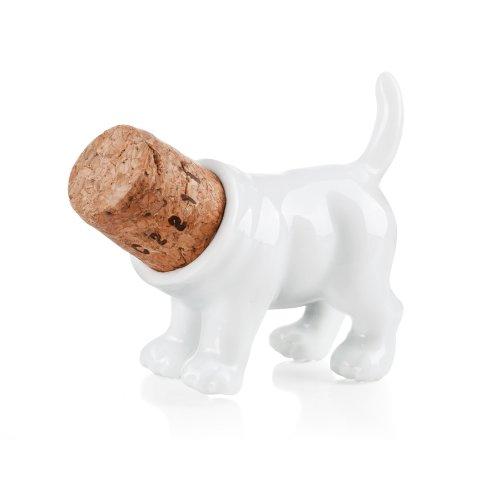 Rufus / Weinstopper aus Porzellan und Kork: Form ''Hinterteil Hundes''