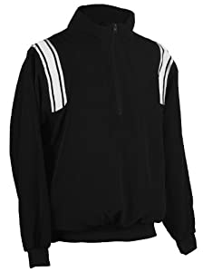 Adams USA Smitty Umpire 1/2 Zip Long Sleeve Pullover Jacket (Black/White, Large)