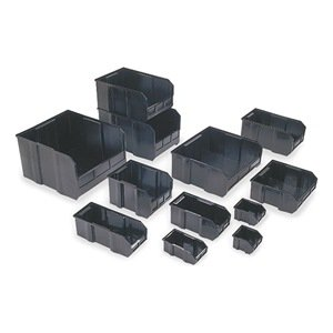 Quantum QUS255 Plastic Storage Stacking Ultra Bin, 16-Inch by 11-Inch by 8-Inch, Black Conductive, Case of 4