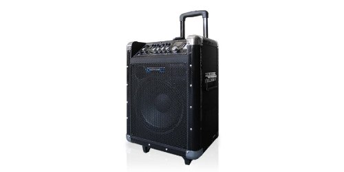 "Technical Pro Wasp800Uibt 8"" Portable Pa System With Rechargeable Battery & Wireless Vhf Handheld Microphone, 800 Watts Peak Power, Bluetooth 2.4Ghz"