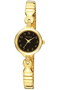 Pulsar Gold and Black Ladies Bracelet Watch - PPH550X1